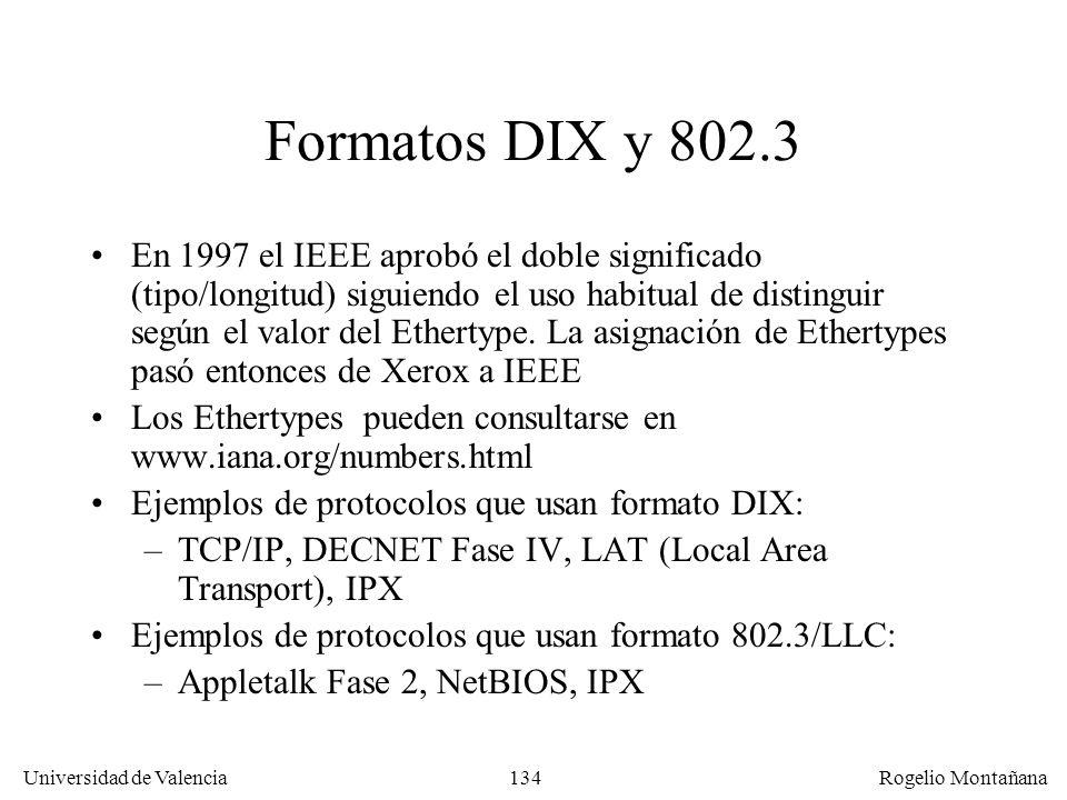 134 Universidad de Valencia Rogelio Montañana Formatos DIX y 802.3 En 1997 el IEEE aprobó el doble significado (tipo/longitud) siguiendo el uso habitu