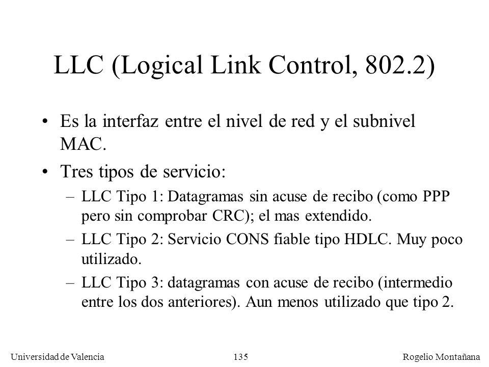 135 Universidad de Valencia Rogelio Montañana LLC (Logical Link Control, 802.2) Es la interfaz entre el nivel de red y el subnivel MAC. Tres tipos de