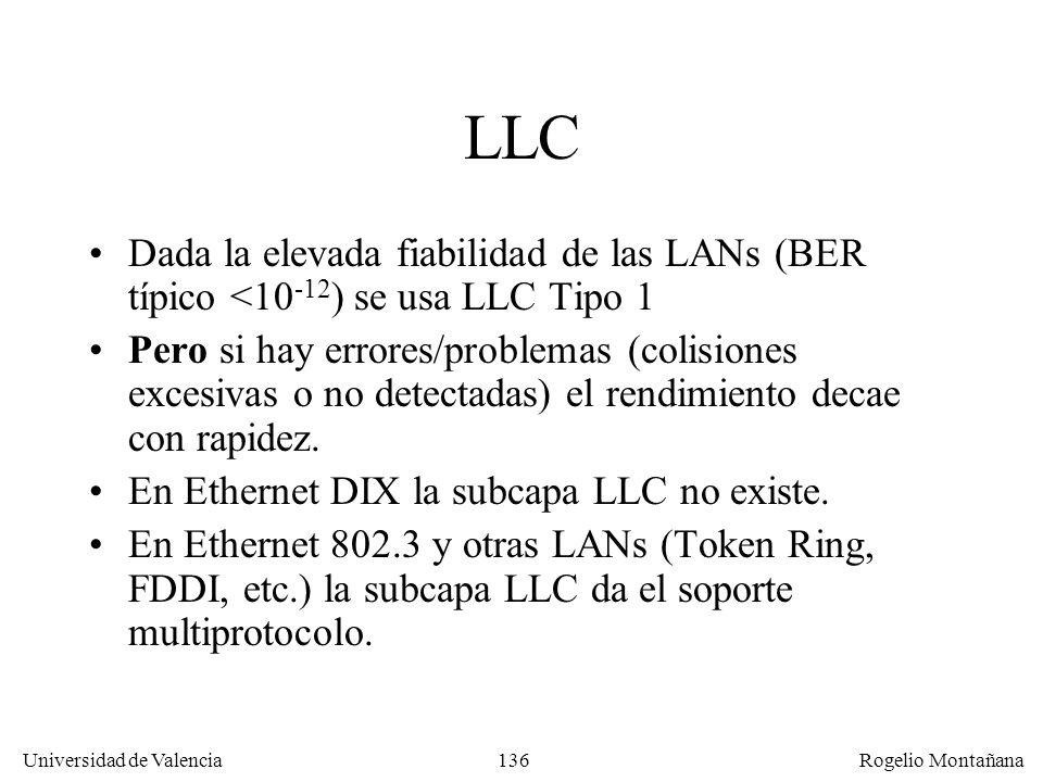 136 Universidad de Valencia Rogelio Montañana LLC Dada la elevada fiabilidad de las LANs (BER típico <10 -12 ) se usa LLC Tipo 1 Pero si hay errores/problemas (colisiones excesivas o no detectadas) el rendimiento decae con rapidez.