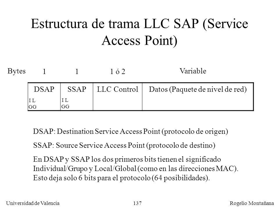 137 Universidad de Valencia Rogelio Montañana Estructura de trama LLC SAP (Service Access Point) DSAPSSAPLLC ControlDatos (Paquete de nivel de red) Bytes 111 ó 2 Variable DSAP: Destination Service Access Point (protocolo de origen) SSAP: Source Service Access Point (protocolo de destino) En DSAP y SSAP los dos primeros bits tienen el significado Individual/Grupo y Local/Global (como en las direcciones MAC).