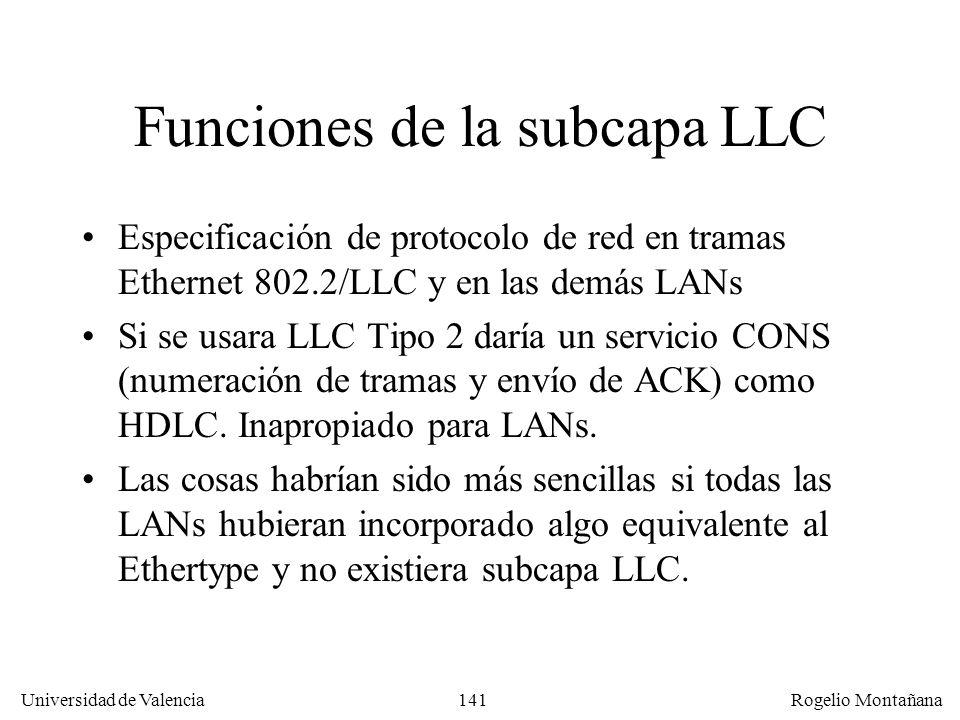 141 Universidad de Valencia Rogelio Montañana Funciones de la subcapa LLC Especificación de protocolo de red en tramas Ethernet 802.2/LLC y en las demás LANs Si se usara LLC Tipo 2 daría un servicio CONS (numeración de tramas y envío de ACK) como HDLC.