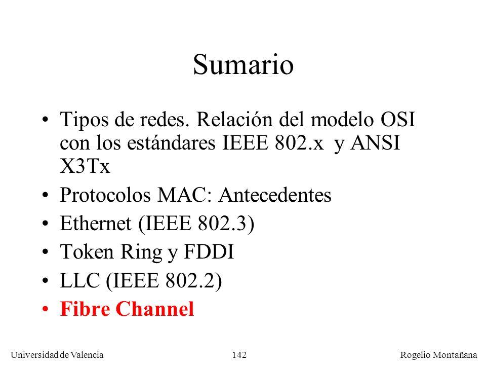 142 Universidad de Valencia Rogelio Montañana Sumario Tipos de redes. Relación del modelo OSI con los estándares IEEE 802.x y ANSI X3Tx Protocolos MAC