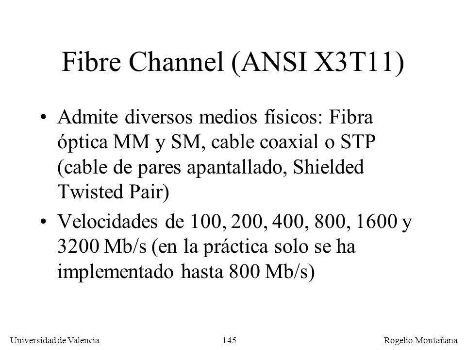 145 Universidad de Valencia Rogelio Montañana Fibre Channel (ANSI X3T11) Admite diversos medios físicos: Fibra óptica MM y SM, cable coaxial o STP (ca