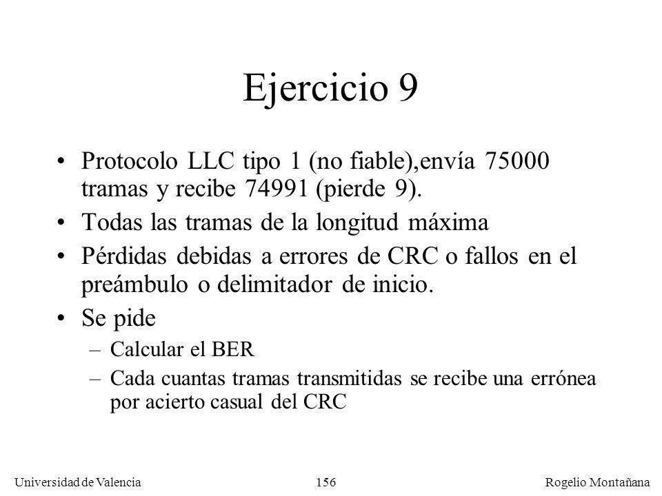 156 Universidad de Valencia Rogelio Montañana Ejercicio 9 Protocolo LLC tipo 1 (no fiable),envía 75000 tramas y recibe 74991 (pierde 9). Todas las tra