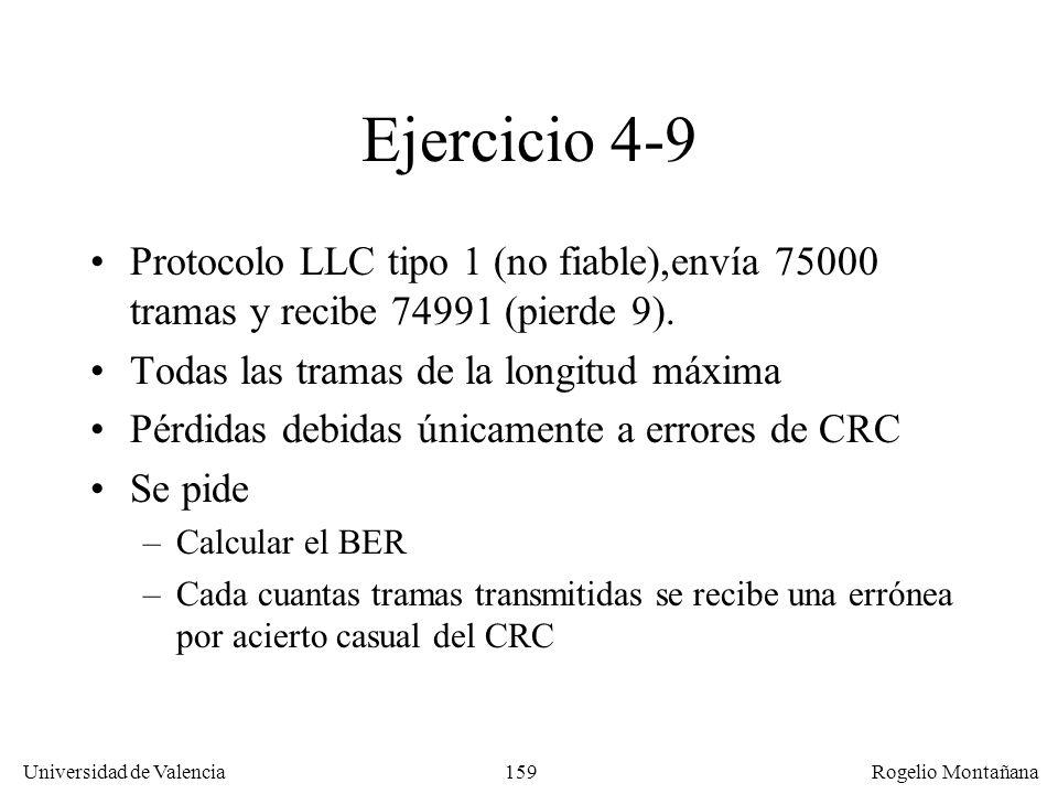 159 Universidad de Valencia Rogelio Montañana Ejercicio 4-9 Protocolo LLC tipo 1 (no fiable),envía 75000 tramas y recibe 74991 (pierde 9). Todas las t