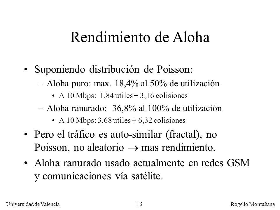 16 Universidad de Valencia Rogelio Montañana Rendimiento de Aloha Suponiendo distribución de Poisson: –Aloha puro: max. 18,4% al 50% de utilización A