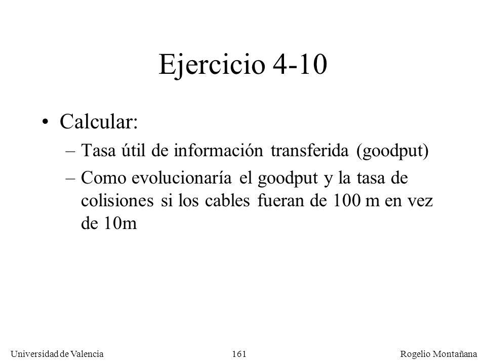 161 Universidad de Valencia Rogelio Montañana Ejercicio 4-10 Calcular: –Tasa útil de información transferida (goodput) –Como evolucionaría el goodput y la tasa de colisiones si los cables fueran de 100 m en vez de 10m