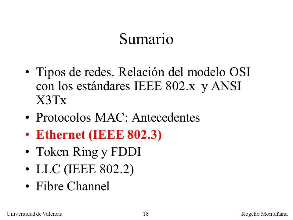 18 Universidad de Valencia Rogelio Montañana Sumario Tipos de redes. Relación del modelo OSI con los estándares IEEE 802.x y ANSI X3Tx Protocolos MAC: