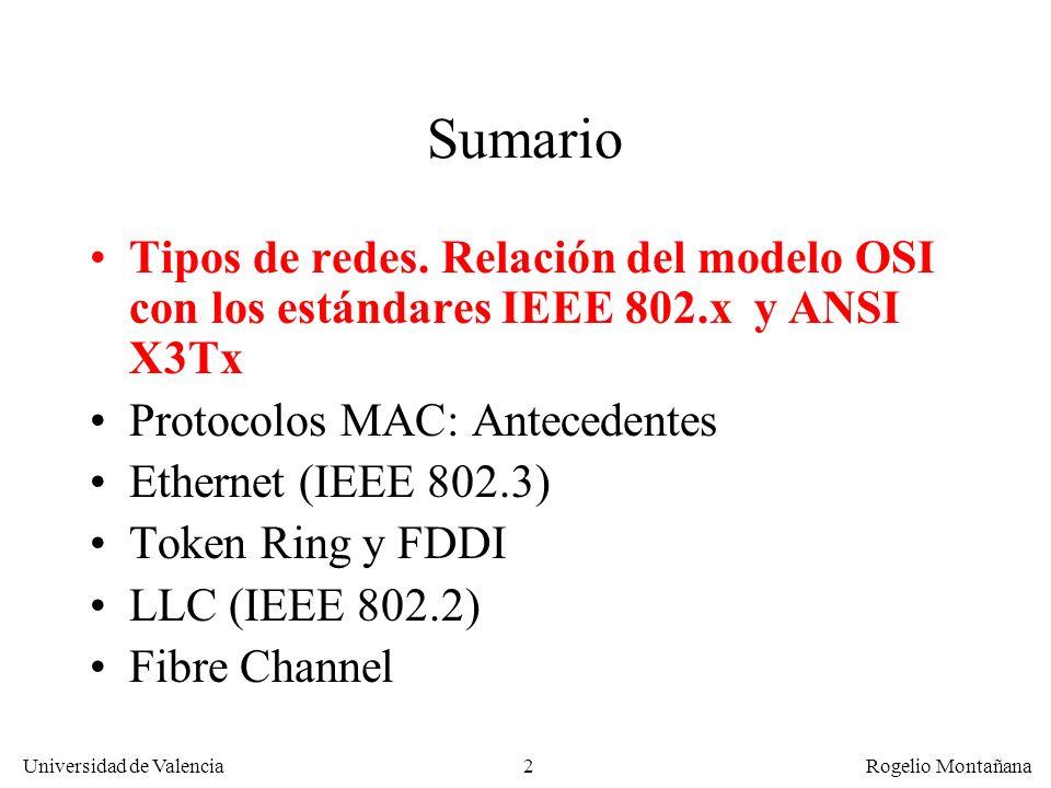 2 Universidad de Valencia Rogelio Montañana Sumario Tipos de redes. Relación del modelo OSI con los estándares IEEE 802.x y ANSI X3Tx Protocolos MAC: