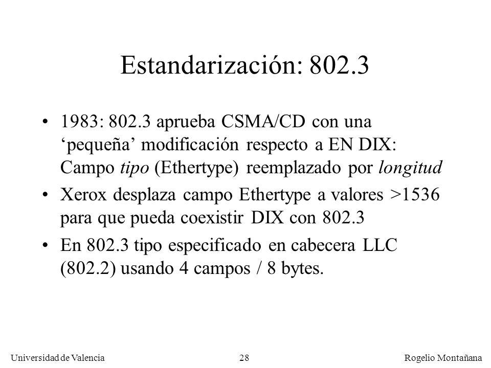 28 Universidad de Valencia Rogelio Montañana Estandarización: 802.3 1983: 802.3 aprueba CSMA/CD con una pequeña modificación respecto a EN DIX: Campo tipo (Ethertype) reemplazado por longitud Xerox desplaza campo Ethertype a valores >1536 para que pueda coexistir DIX con 802.3 En 802.3 tipo especificado en cabecera LLC (802.2) usando 4 campos / 8 bytes.