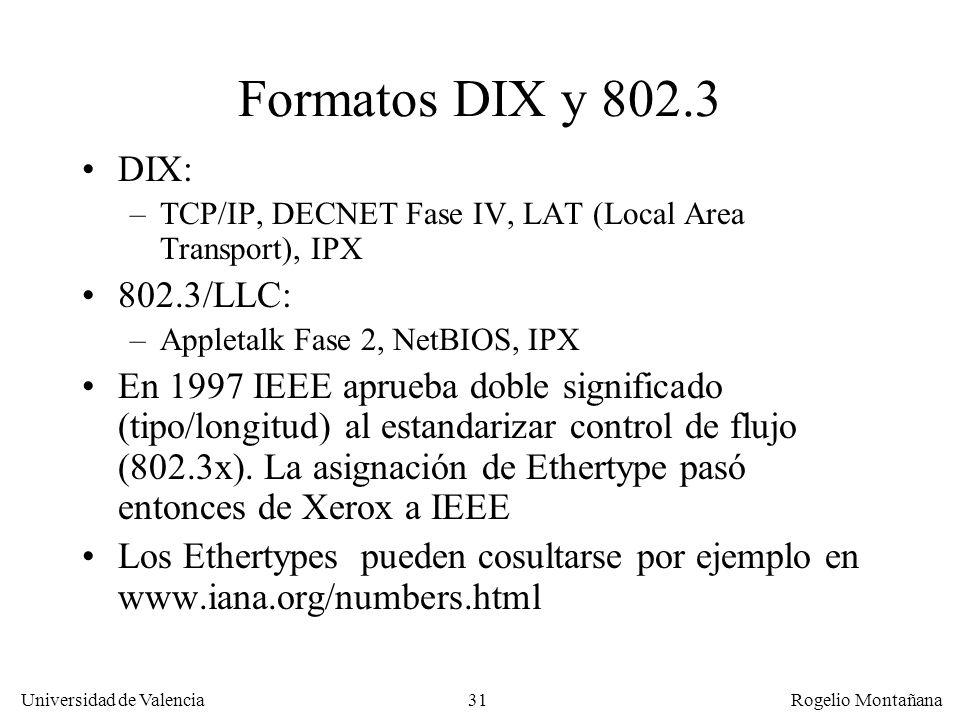 31 Universidad de Valencia Rogelio Montañana Formatos DIX y 802.3 DIX: –TCP/IP, DECNET Fase IV, LAT (Local Area Transport), IPX 802.3/LLC: –Appletalk Fase 2, NetBIOS, IPX En 1997 IEEE aprueba doble significado (tipo/longitud) al estandarizar control de flujo (802.3x).