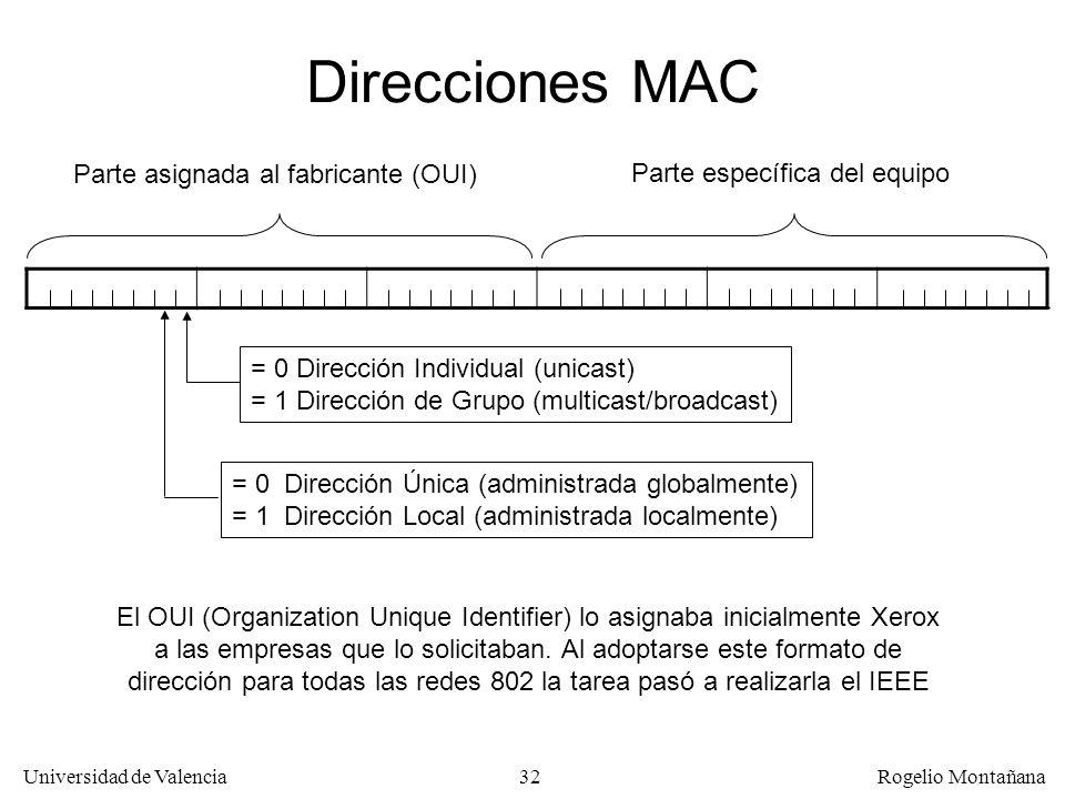 32 Universidad de Valencia Rogelio Montañana Direcciones MAC = 0 Dirección Individual (unicast) = 1 Dirección de Grupo (multicast/broadcast) = 0 Direc