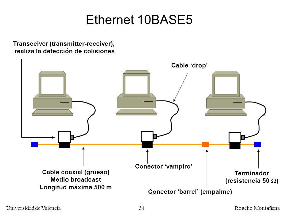 34 Universidad de Valencia Rogelio Montañana Ethernet 10BASE5 Cable coaxial (grueso) Medio broadcast Longitud máxima 500 m Cable drop Transceiver (transmitter-receiver), realiza la detección de colisiones Conector vampiro Terminador (resistencia 50 ) Conector barrel (empalme)