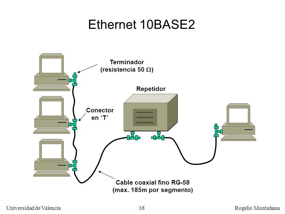 38 Universidad de Valencia Rogelio Montañana Ethernet 10BASE2 Terminador (resistencia 50 ) Cable coaxial fino RG-58 (max. 185m por segmento) Repetidor