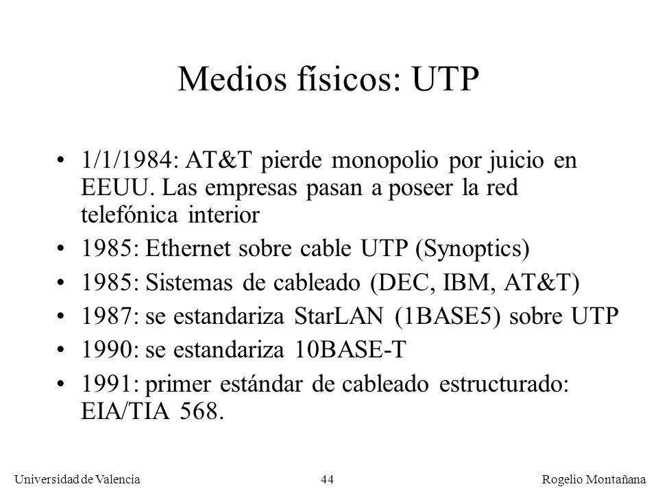 44 Universidad de Valencia Rogelio Montañana Medios físicos: UTP 1/1/1984: AT&T pierde monopolio por juicio en EEUU. Las empresas pasan a poseer la re
