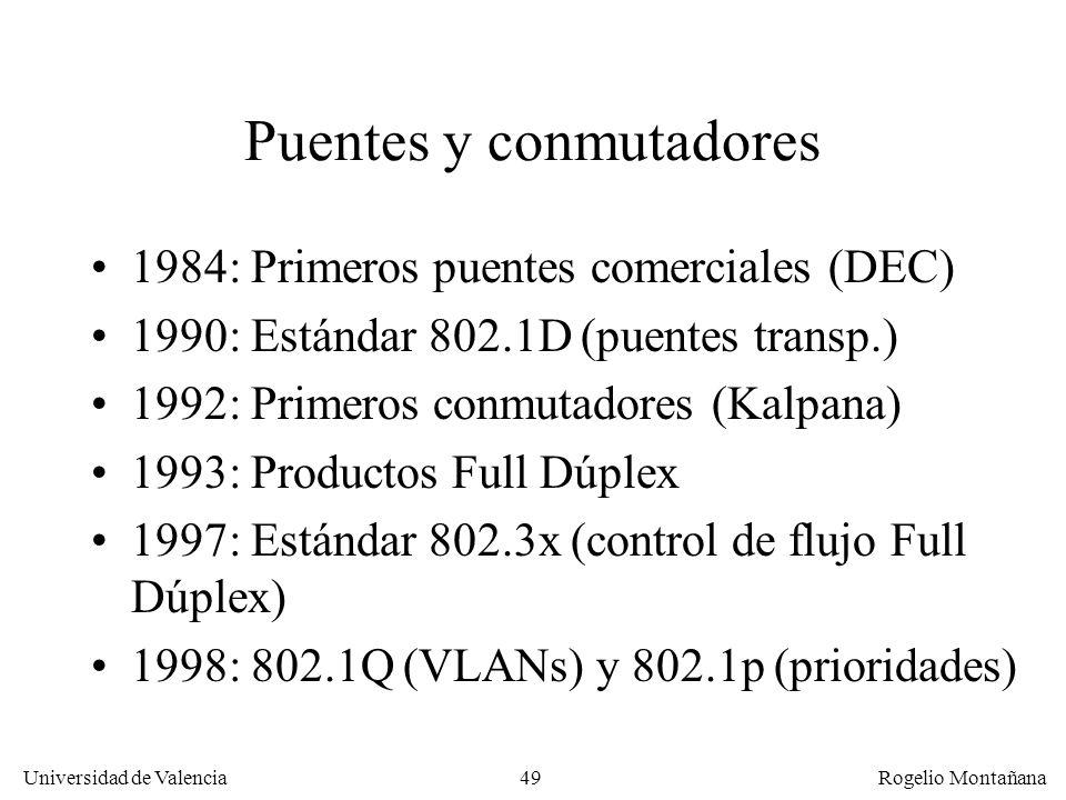 49 Universidad de Valencia Rogelio Montañana Puentes y conmutadores 1984: Primeros puentes comerciales (DEC) 1990: Estándar 802.1D (puentes transp.) 1992: Primeros conmutadores (Kalpana) 1993: Productos Full Dúplex 1997: Estándar 802.3x (control de flujo Full Dúplex) 1998: 802.1Q (VLANs) y 802.1p (prioridades)