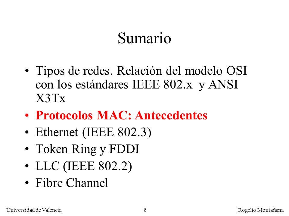19 Universidad de Valencia Rogelio Montañana Ethernet experimental 1970: Robert Metcalfe (MIT) empieza tesis en Harvard(optimización Aloha) 1972: Metcalfe llega a Xerox PARC; se le encarga diseñar la red del laboratorio 22/5/1973: Ethernet experimental (Metcalfe y David Boggs): 2,94 Mbps, 1,6 Km, direcc.