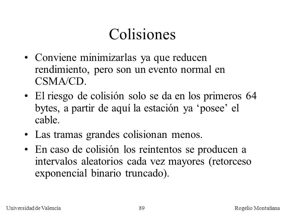89 Universidad de Valencia Rogelio Montañana Colisiones Conviene minimizarlas ya que reducen rendimiento, pero son un evento normal en CSMA/CD. El rie