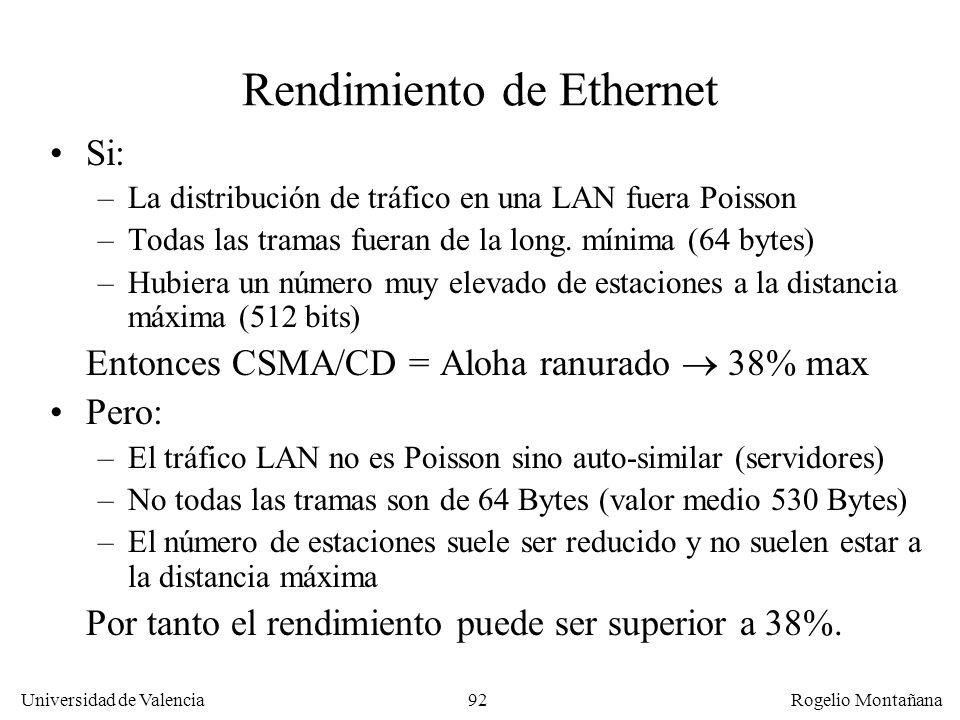 92 Universidad de Valencia Rogelio Montañana Rendimiento de Ethernet Si: –La distribución de tráfico en una LAN fuera Poisson –Todas las tramas fueran de la long.