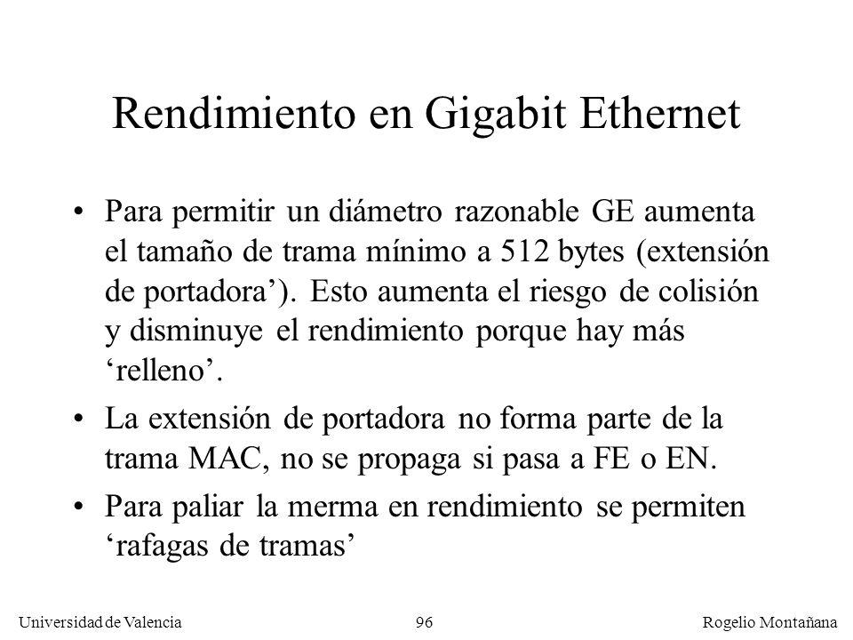 96 Universidad de Valencia Rogelio Montañana Rendimiento en Gigabit Ethernet Para permitir un diámetro razonable GE aumenta el tamaño de trama mínimo a 512 bytes (extensión de portadora).