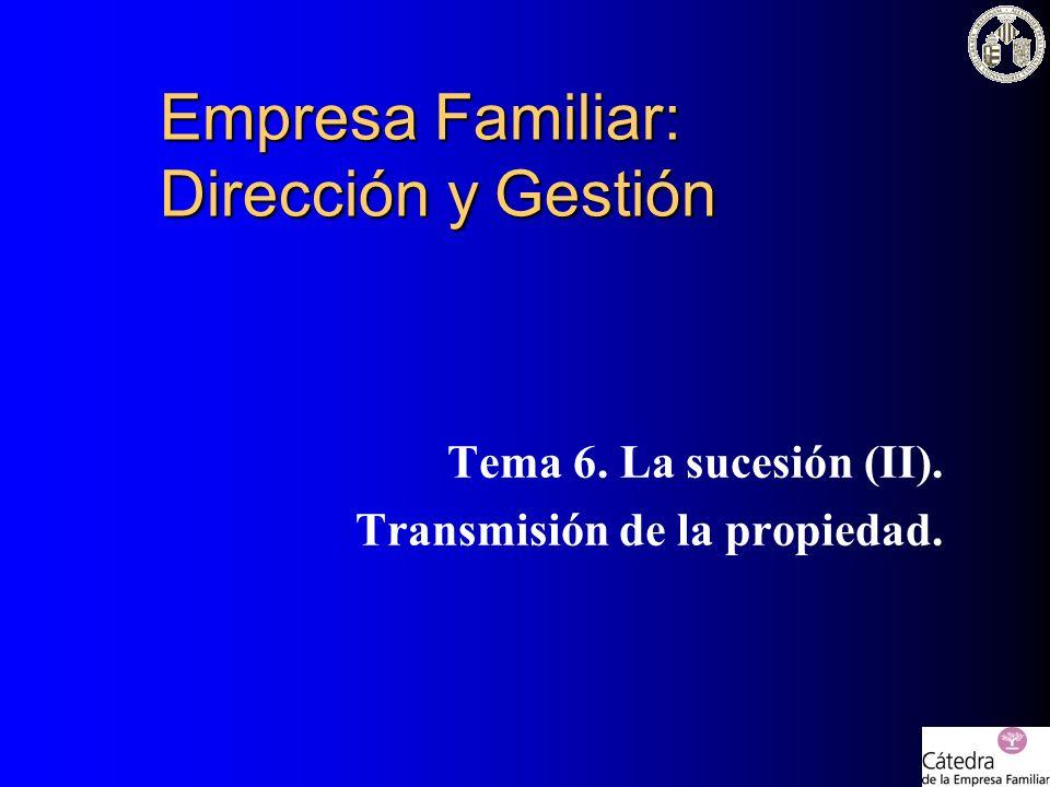 Empresa Familiar: Dirección y Gestión Tema 6. La sucesión (II). Transmisión de la propiedad.