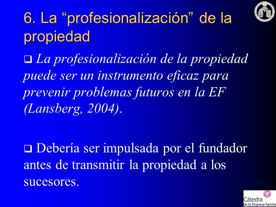 La profesionalización de la propiedad puede ser un instrumento eficaz para prevenir problemas futuros en la EF (Lansberg, 2004). Debería ser impulsada