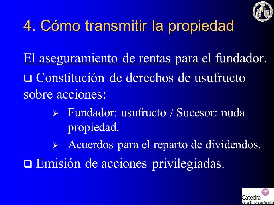 El aseguramiento de rentas para el fundador. Constitución de derechos de usufructo sobre acciones: Fundador: usufructo / Sucesor: nuda propiedad. Acue
