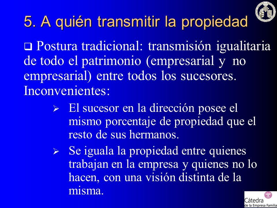 Postura tradicional: transmisión igualitaria de todo el patrimonio (empresarial y no empresarial) entre todos los sucesores. Inconvenientes: El suceso