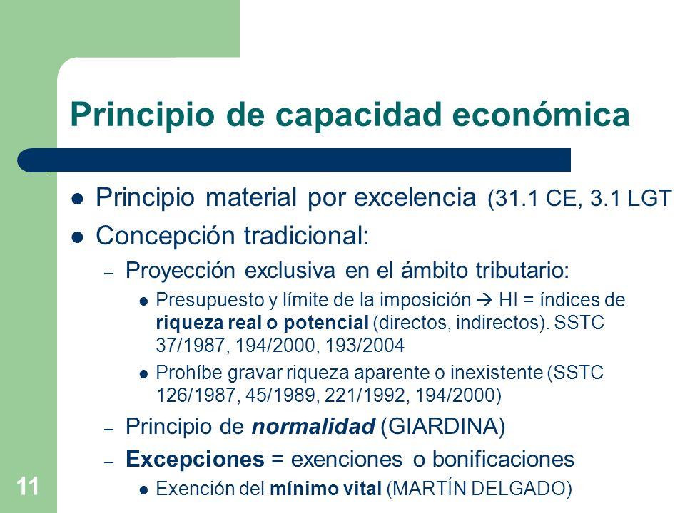 11 Principio de capacidad económica Principio material por excelencia (31.1 CE, 3.1 LGT Concepción tradicional: – Proyección exclusiva en el ámbito tr