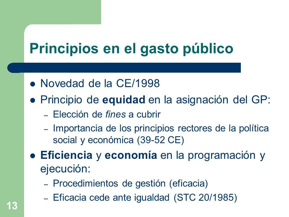 13 Principios en el gasto público Novedad de la CE/1998 Principio de equidad en la asignación del GP: – Elección de fines a cubrir – Importancia de lo