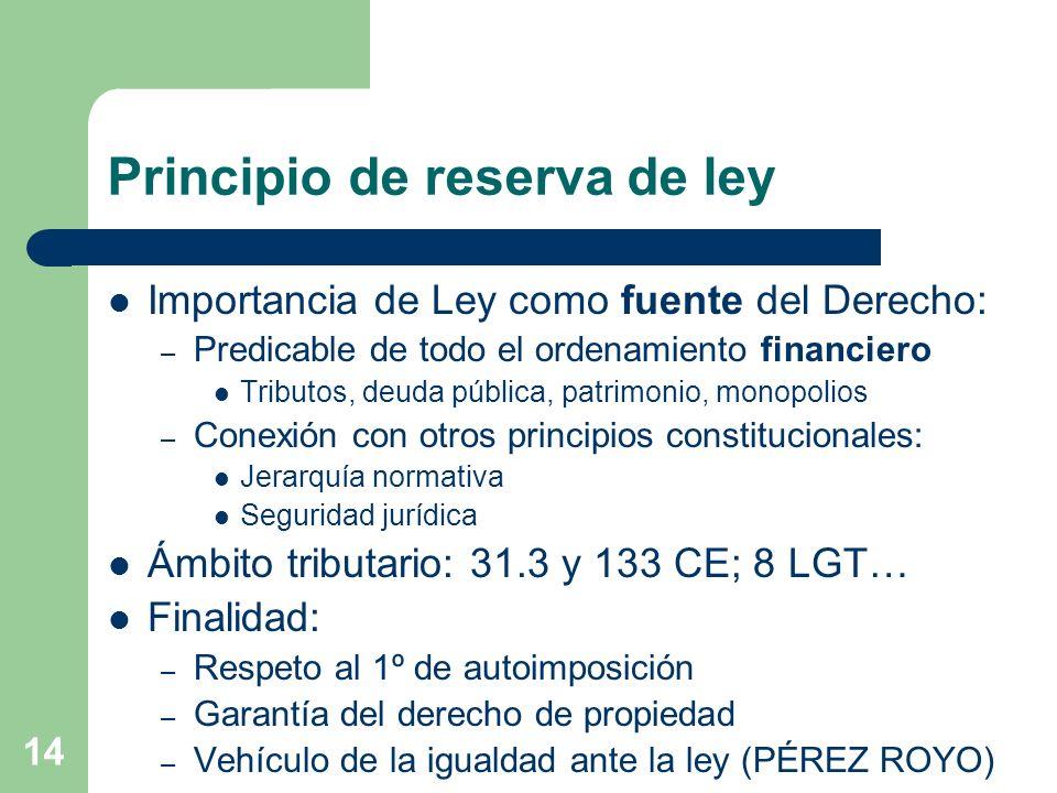 14 Principio de reserva de ley Importancia de Ley como fuente del Derecho: – Predicable de todo el ordenamiento financiero Tributos, deuda pública, pa