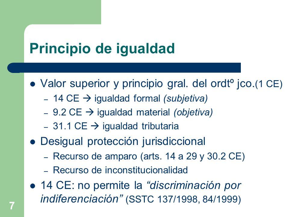 7 Principio de igualdad Valor superior y principio gral. del ordtº jco. (1 CE) – 14 CE igualdad formal (subjetiva) – 9.2 CE igualdad material (objetiv