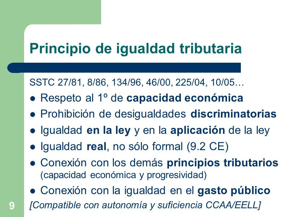9 Principio de igualdad tributaria SSTC 27/81, 8/86, 134/96, 46/00, 225/04, 10/05… Respeto al 1º de capacidad económica Prohibición de desigualdades d