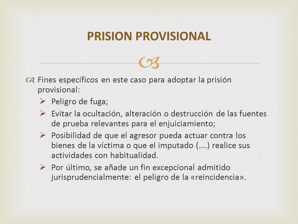 Fines específicos en este caso para adoptar la prisión provisional: Peligro de fuga; Evitar la ocultación, alteración o destrucción de las fuentes de