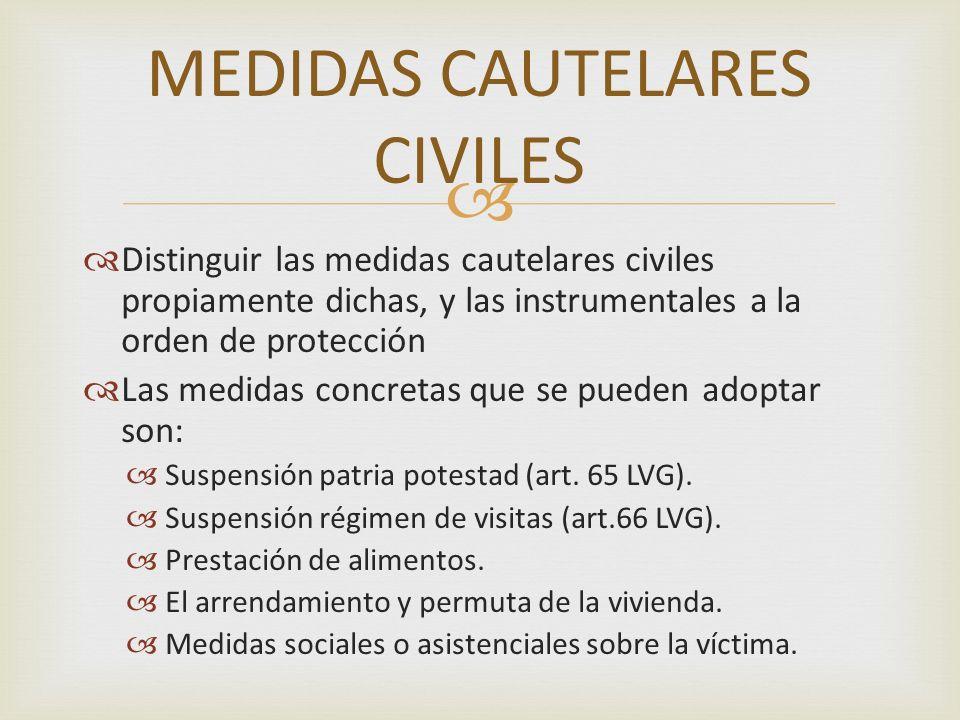 Distinguir las medidas cautelares civiles propiamente dichas, y las instrumentales a la orden de protección Las medidas concretas que se pueden adopta