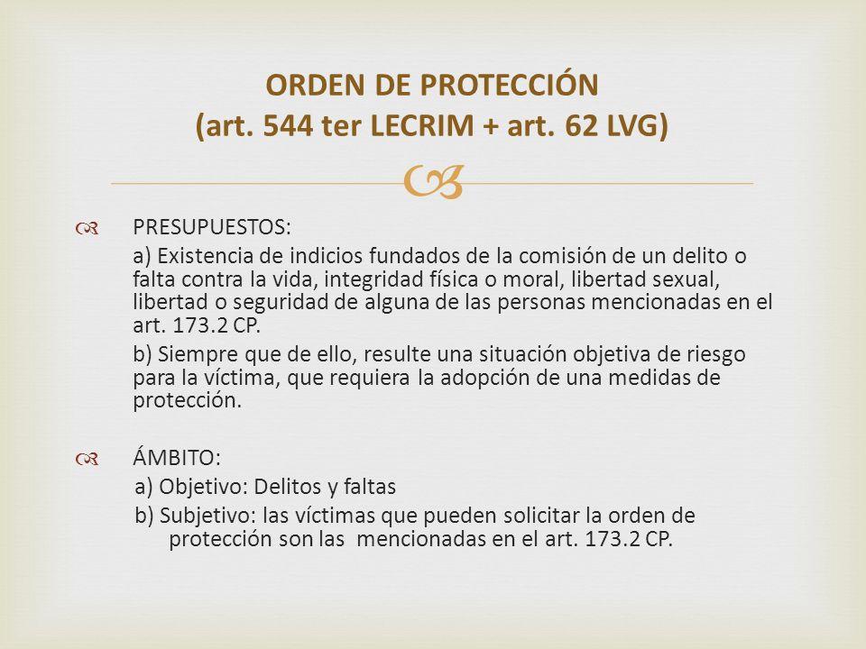 Distinguir las medidas cautelares civiles propiamente dichas, y las instrumentales a la orden de protección Las medidas concretas que se pueden adoptar son: Suspensión patria potestad (art.