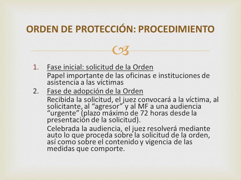 1.Fase inicial: solicitud de la Orden Papel importante de las oficinas e instituciones de asistencia a las víctimas 2. Fase de adopción de la Orden Re