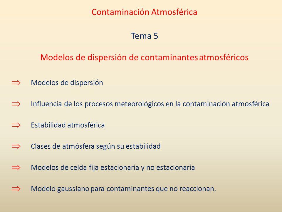 Modelos de dispersión Influencia de los procesos meteorológicos en la contaminación atmosférica Estabilidad atmosférica Clases de atmósfera según su e
