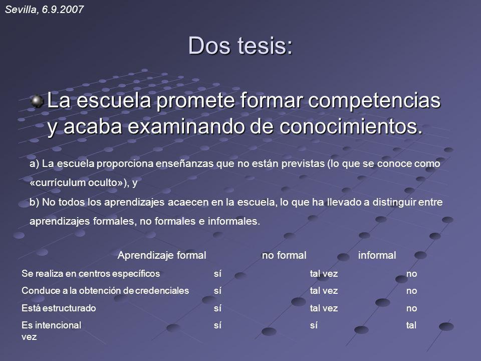 Dos tesis: La escuela promete formar competencias y acaba examinando de conocimientos. Sevilla, 6.9.2007 a) La escuela proporciona enseñanzas que no e