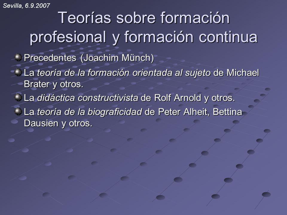 Teorías sobre formación profesional y formación continua Precedentes (Joachim Münch) La teoría de la formación orientada al sujeto de Michael Brater y