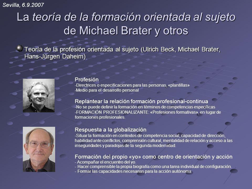 La teoría de la formación orientada al sujeto de Michael Brater y otros Teoría de la profesión orientada al sujeto (Ulrich Beck, Michael Brater, Hans-