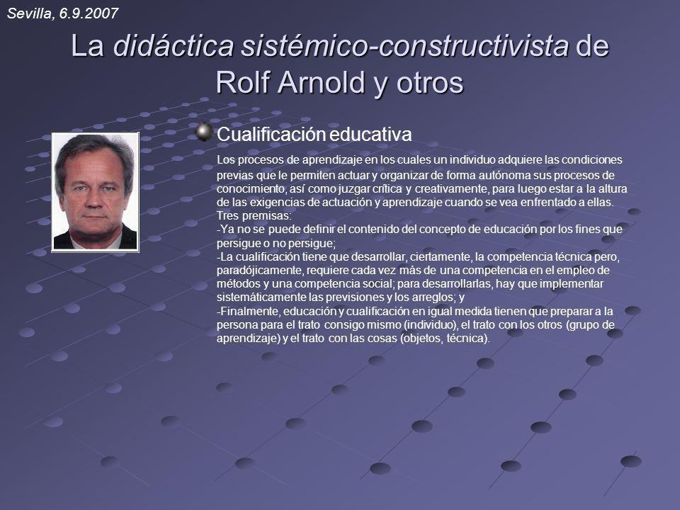 La didáctica sistémico-constructivista de Rolf Arnold y otros Cualificación educativa Los procesos de aprendizaje en los cuales un individuo adquiere