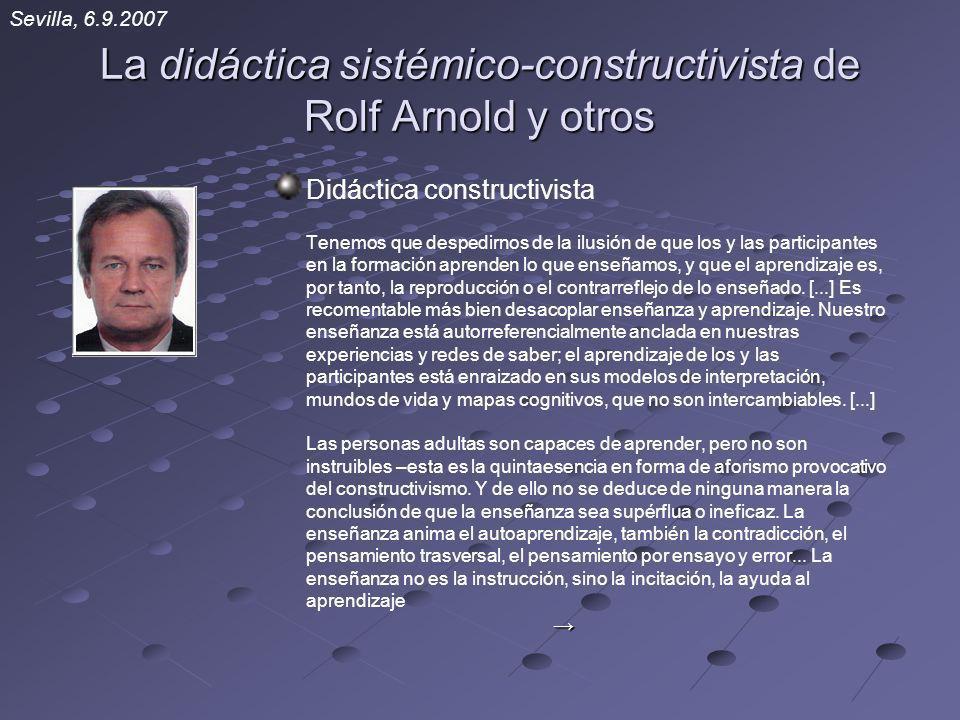 La didáctica sistémico-constructivista de Rolf Arnold y otros Didáctica constructivista Tenemos que despedirnos de la ilusión de que los y las partici