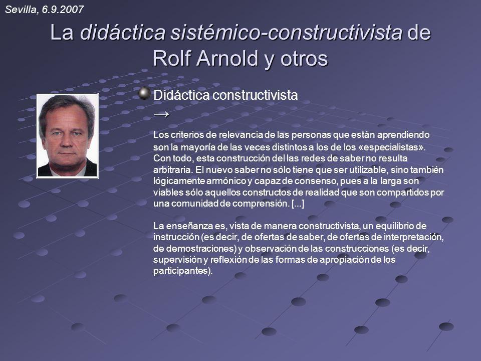 La didáctica sistémico-constructivista de Rolf Arnold y otros Didáctica constructivista Los criterios de relevancia de las personas que están aprendie