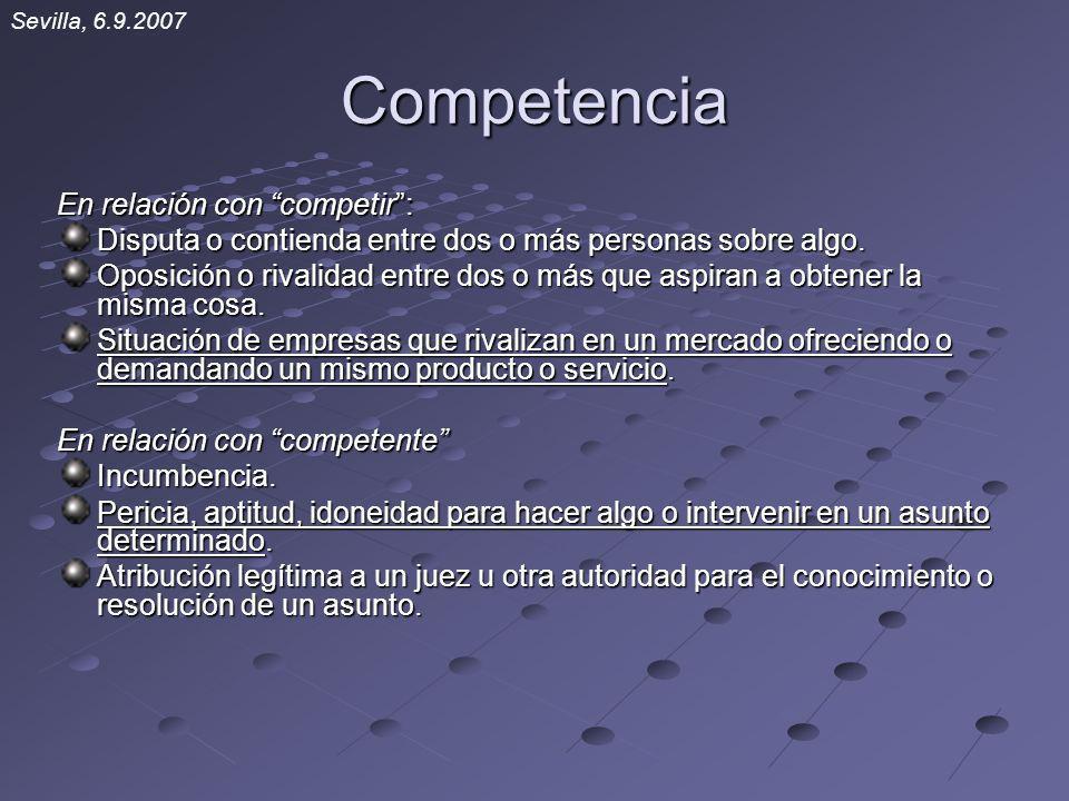 Competencia En relación con competir: Disputa o contienda entre dos o más personas sobre algo. Oposición o rivalidad entre dos o más que aspiran a obt