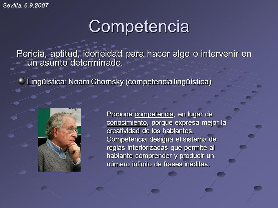 Competencia Pericia, aptitud, idoneidad para hacer algo o intervenir en un asunto determinado. Lingüística: Noam Chomsky (competencia lingüística) Pro