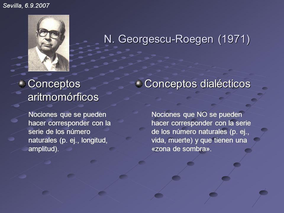 N. Georgescu-Roegen (1971) Conceptos aritmomórficos Conceptos dialécticos Nociones que se pueden hacer corresponder con la serie de los número natural