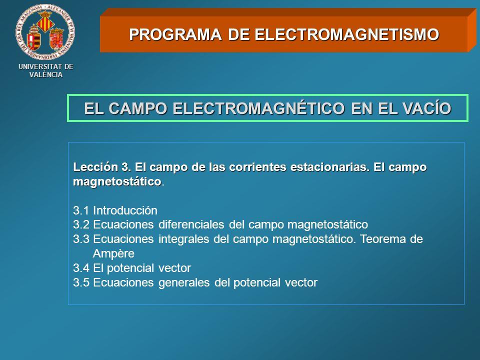 UNIVERSITAT DE VALÈNCIA EL CAMPO ELECTROMAGNÉTICO EN EL VACÍO Lección 3. El campo de las corrientes estacionarias. El campo magnetostático Lección 3.