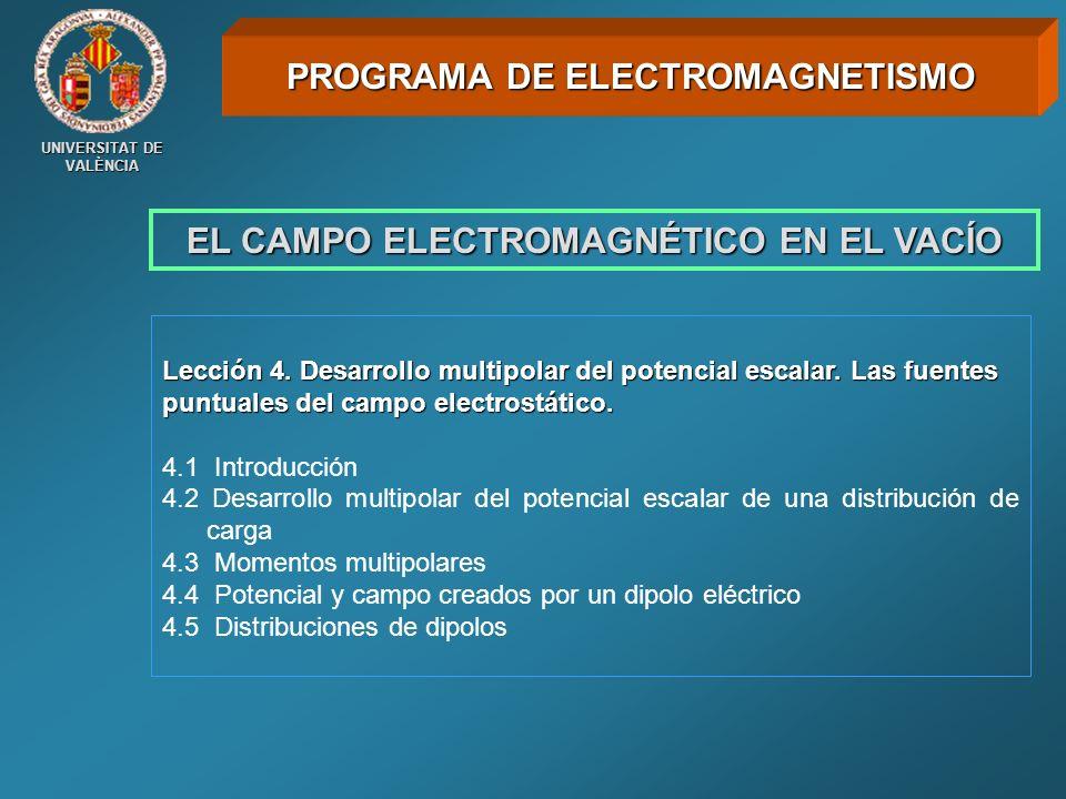 UNIVERSITAT DE VALÈNCIA EL CAMPO ELECTROMAGNÉTICO EN EL VACÍO Lección 4. Desarrollo multipolar del potencial escalar. Las fuentes puntuales del campo