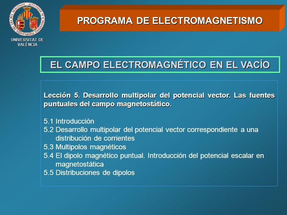 UNIVERSITAT DE VALÈNCIA EL CAMPO ELECTROMAGNÉTICO EN EL VACÍO Lección 5. Desarrollo multipolar del potencial vector. Las fuentes puntuales del campo m